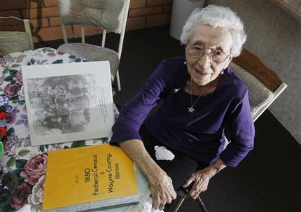 In this March 30, 2012, photo, Verla Morris, who willturn 100 later this year, poses for a photograph as she goes through some of her family census data from the 19th and 20thcenturies at her local residential senior center in Chandler, Ariz. When the 1940 census records are released Monday, April2, Morris will see her own name and details about her life in the records being released after 72 years of confidentialityexpires, allowing her to find out more about her family tree. (AP Photo/Ross D. Franklin)