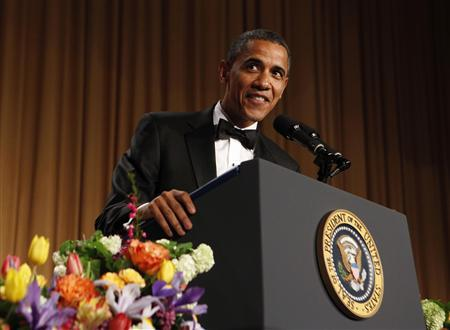 U.S. President Barack Obama speaks at the White House   Correspondents Association annual dinner in Washington April 28, 2012. REUTERS/Larry Downing