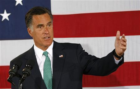 U.S. Republican presidential candidate and former   Governor of Massachusetts Mitt Romney speaks to supporters in Charlotte, North Carolina April 18, 2012. REUTERS/Chris Keane