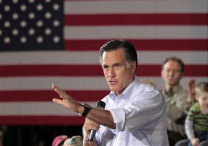 U.S. Republican presidential candidate Mitt Romney   speaks to supporters at a town hall meeting at Moore Oil in Milwaukee, Wisconsin April 2, 2012. REUTERS/Darren Hauck