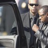 Bobby Brown (R) leaves the funeral service of ex-wife, pop singer Whitney Houston, at the New Hope Baptist Church in Newark, New Jersey February 18, 2012. REUTERS/Carlo Allegri