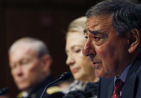 U.S. Secretary of Defense Leon Panetta (R) testifies next to U.S. Secretary of State Hillary Clinton, (C) and the Chairman of the Joint Chiefs of Staff, U.S. Army General Martin Dempsey (L), at the Senate Foreign Relations Committee in Washington May 23, 2012. REUTERS/Gary Cameron