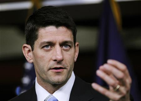 """House Budget Chairman Paul Ryan (R-WI) speaks during a news conference as he unveils """"The FY2013 Budget - The Path to Prosperity"""" with members of the House Budget Committee at Capitol Hill in Washington March 20, 2012. REUTERS/Jose Luis Magana"""