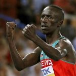 Ezekiel Kemboi of Kenya celebrates winning the men's 3000 metres steeplechase final at the IAAF World Athletics Championships in Daegu, September 1, 2011. REUTERS/Phil Noble