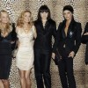 British pop group Spice Girls (L-R) Mel B, Emma Bunton, Geri Halliwell, Mel C, and Victoria Beckham pose for the photographers with Italian designer Roberto Cavalli (R) before his Fall/Winter 2008/09 men's collections during Milan Fashion Week January 14, 2008 REUTERS/Alessandro Garofalo