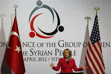"Secretary of State Hillary Clinton speaks during a news conference at the ""Friends of Syria"" conference in Istanbul April 1, 2012. REUTERS/Murad Sezer"