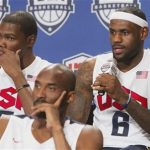 LeBron James (R) of the Miami Heat speaks as Kevin Durant (L) and Kobe Bryant listen during a news conference for the twelve players selected for the 2012 U.S. Olympic men's basketball team at the Wynn Las Vegas Resort in Las Vegas, Nevada July 7, 2012. REUTERS/Steve Marcus