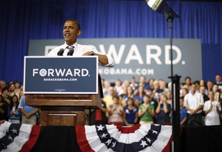 U.S. President Barack Obama speaks during an event on extending the Bush-era tax cuts for middle class families at Kirkwood Community College in Cedar Rapids, Iowa, July 10, 2012. REUTERS/Jason Reed