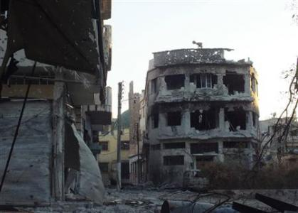 A view of the destruction in Bab-Todmor in Homs July 12, 2012. Picture taken July 12, 2012. REUTERS/Yazen Homsy