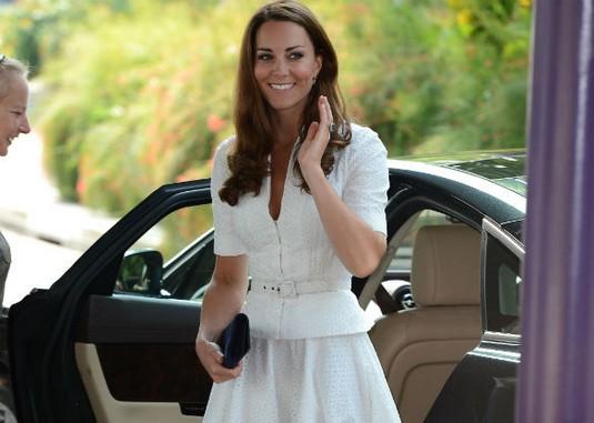 Kate Middleton wows in Alexander McQueen white suit dress on Asian Tour- Splash