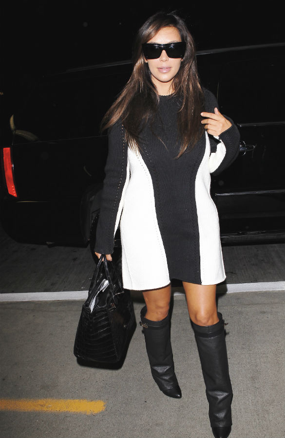 Kim Kardashian Strikes Another Fashion Blow In 'Kanye-Advised' Baggy Dress And Ugly Givenchy Boots