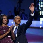 U.S. President Barack Obama celebrates with first lady Michelle Obama after accepting the 2012 U.S Democratic presidential nomination during the final session of Democratic National Convention in Charlotte, North Carolina, September 6, 2012. REUTERS/Jim Young