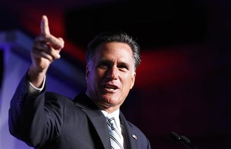 U.S. Republican presidential nominee and former Massachusetts Governor Mitt Romney addresses the U.S. Hispanic Chamber of Commerce in Los Angeles, California, September 17, 2012. REUTERS/Jim Young