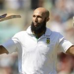 South Africa's Hashim Amla celebrates reaching his triple century during the first cricket test match against England at the Oval cricket ground in London July 22, 2012. REUTERS/Philip Brown