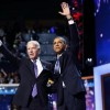 U.S. President Barack Obama (R) waves with Vice President Joe Biden after Obama accepted the 2012 U.S Democratic presidential nomination during the final session of Democratic National Convention in Charlotte, North Carolina, September 6, 2012. REUTERS/Jim Young