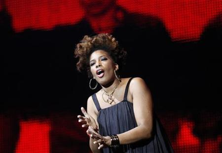"Macy Gray performs during multimedia performance directed by Robert Wilson titled ""Solidarity. Freedom is the Name of Your Angel!"" at Gdansk Shipyard August 31, 2010. REUTERS/Peter Andrews"