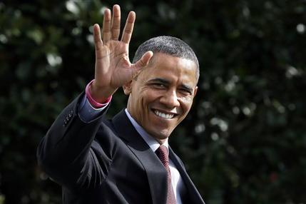 President Barack Obama waves to the media from the south lawn of the White House as prepares to board Marine One in Washington, en route to campaign events in Nashua, N.H., Saturday, Oct. 27, 2012. (AP Photo/Jacquelyn Martin)