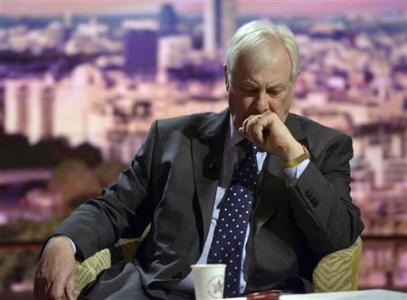 Chris Patten, chairman of the BBC Trust, waits to speak on the Andrew Marr political talk show at BBC studios in London November 11, 2012. REUTERS/Jeff Overs/BBC/handout