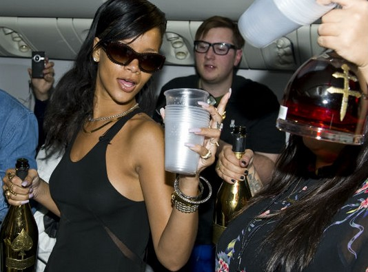 Champagne And Diamonds For All On Rihanna's Party Plane