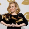 """FILE - In this Feb. 12, 2012 file photo, Adele poses backstage with her six awards at the 54th annual Grammy Awards in Los Angeles. Adele won awards for best pop solo performance for """"Someone Like You,"""" song of the year, record of the year, and best short form music video for """"Rolling in the Deep,"""" and album of the year and best pop vocal album for """"21."""" Adele rolled so deep in 2012 that she's been voted The Associated Press Entertainer of the Year. (AP Photo/Mark J. Terrill, File)"""