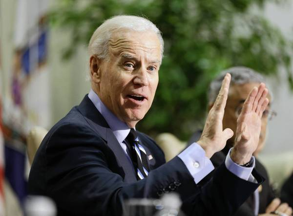 Vice President Joe Biden gestures during a round table discussion  on gun violence at Virginia Commonwealth University in Richmond, Va., Friday, Jan. 25, 2013.  The panelists included officials who worked on the aftermath of the Virginia Tech shootings.   (AP Photo/Steve Helber) ** Usable by LA and DC Only **