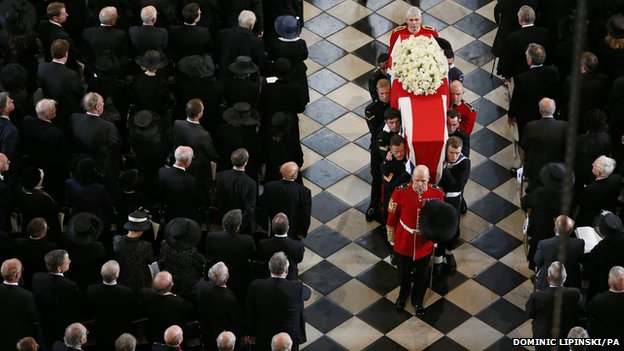 Margaret Thatcher: Queen leads mourners at funeral