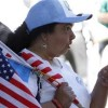A protester points during a rally for immigration reform near Senator Dianne Feinstein's office, in Los Angeles, California, April 10, 2013. REUTERS/Jonathan Alcorn