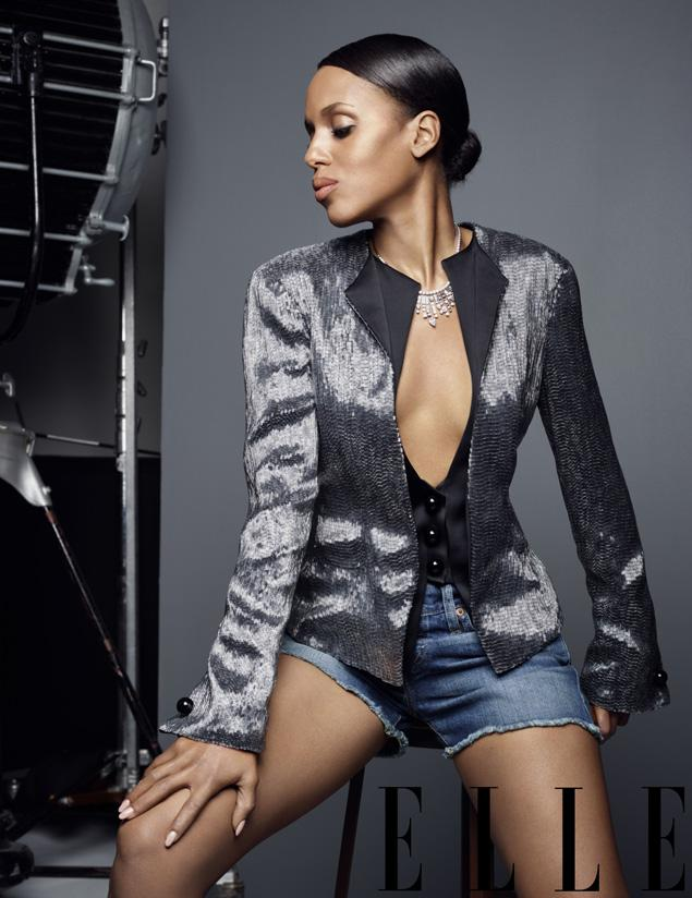 Kerry Washington flaunts cleavage in Elle, calls herself 'the luckiest broad in Hollywood now'
