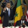 U.S. President Barack Obama, left, makes a toast during an official dinner with Senegalese President Macky Sall at the Presidential Palace on Thursday, June 27, 2013, in Dakar, Senegal. Obama is visiting Senegal, South Africa, and Tanzania on a week long trip. (AP Photo/Evan Vucci)