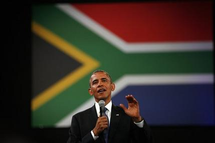 U.S. President Barack Obama  delivers remarks and takes questions at a town hall meeting with young African leaders at the University of Johannesburg Soweto campus in South Africa, Saturday June 29, 2013.(AP Photo/Jerome Delay)