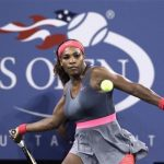 Serena Williams of the U.S. prepares to hit a forehand to Yaroslava Shvedova of Kazakhstan at the U.S. Open tennis championships in New York