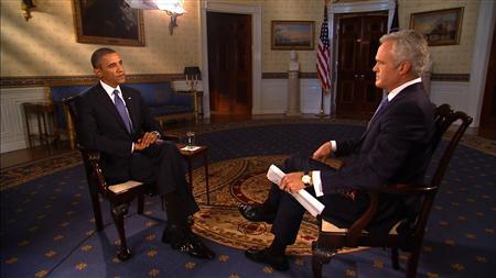 CBS Evening News anchor Pelley interviews U.S. President Obama at the White House in Washington