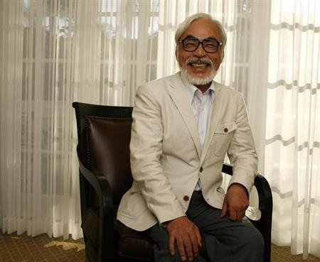 """Japanese director Miyazaki of the animated movie """"Ponyo"""" smiles as he poses for a picture in Los Angeles"""