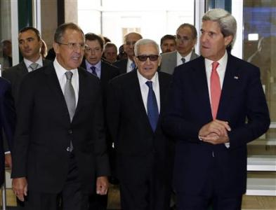 U.S. Secretary of State John Kerry and Russian Foreign Minister Sergei Lavrov arrive for meeting at UN in Geneva