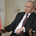 Russian President Putin gives an interview at the Novo-Ogaryovo state residence outside Moscow