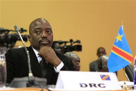 The Democratic Republic of Congo's President Joseph Kabila attends the extraordinary summit of the International Conference on the Great Lakes Region (ICGLR) head of states emergency summit in Uganda's capital Kampala