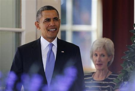 U.S. President Barack Obama walks out to speak about the Affordable Care Act in Washington