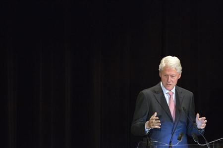 Former U.S. President Bill Clinton speaks at the Annual Freedom Award Benefit Event hosted by the International Rescue Committee at the Waldorf-Astoria in New York