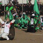 Iraqi Shiite faithful worshippers re-enact the seventh century battle of Karbala