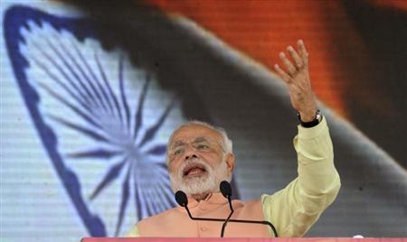 Gujarat's chief minister and BJP prime ministerial candidate Modi addresses a rally in Patna