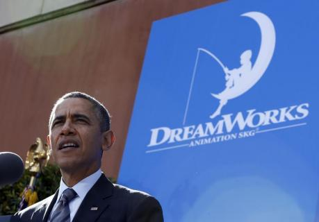U.S. President Obama speaks about the economy at Dream Works Animation in Glendale