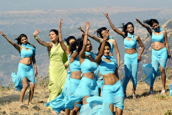 FORMER MISS UNIVERSE AND BOLLYWOOD STAR DUTTA DANCES DURING MAKING OF INDIAN MOVIE IN LONAVLA, NEAR BOMBAY.