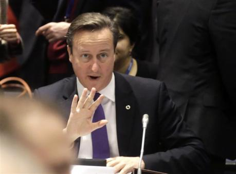 British Prime Minister David Cameron gestures during the EU Eastern Partnership summit in Vilnius