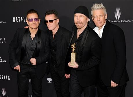 Bono, from left, Larry Mullen, Jr., The Edge and Adam Clayton, of the Irish band U2