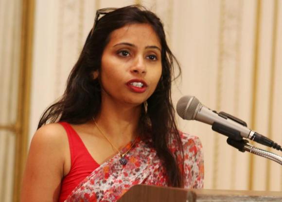 India's Deputy Consul General in New York, Devyani Khobragade, attends a Rutgers University event at India's Consulate General in New York