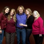 Kody Brown, center, poses with his wives, from left, Robyn, Christine, Meri and Janelle