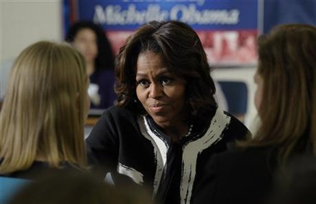 First lady Michelle Obama speaks to students at T.C. Williams High School in Alexandria