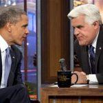 President Barack Obama talking with Jay Leno