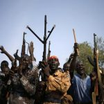 File photo of rebel fighters in a village in Upper Nile State