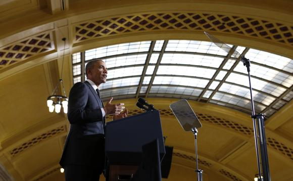 U.S. President Barack Obama speaks at Union Depot in St. Paul, Minnesota